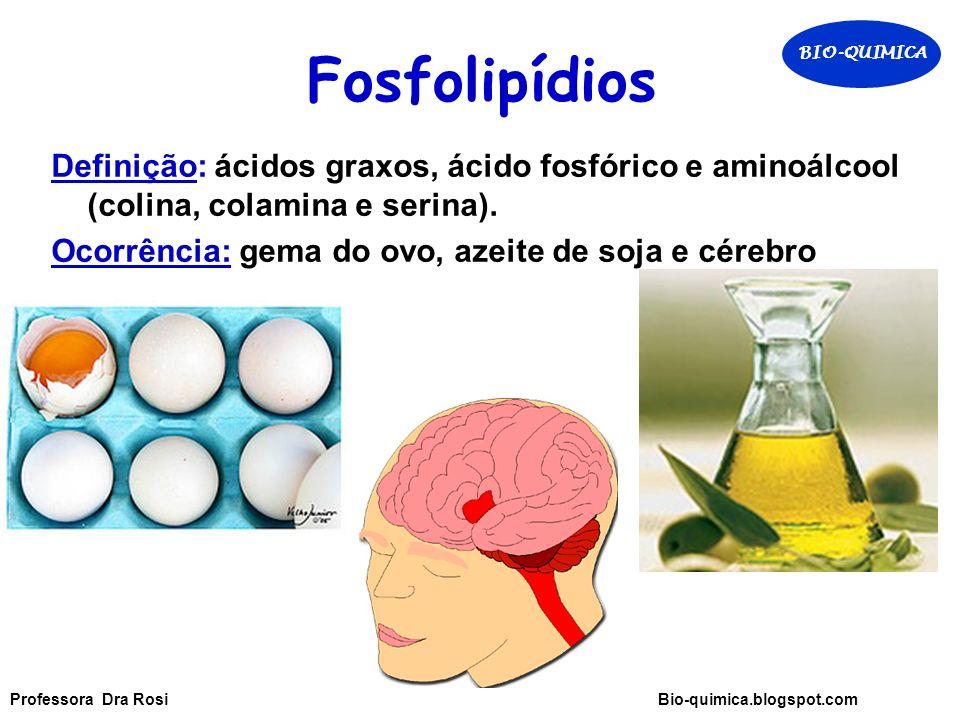 Fosfolipídios Definição: ácidos graxos, ácido fosfórico e aminoálcool (colina, colamina e serina).