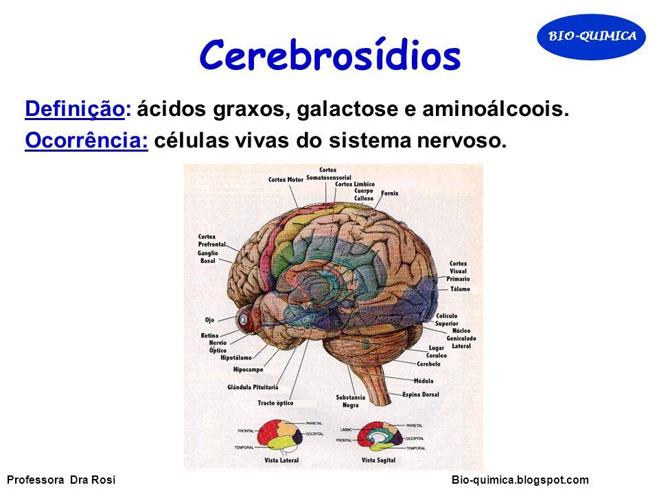 Cerebrosídios Definição: ácidos graxos, galactose e aminoálcoois.