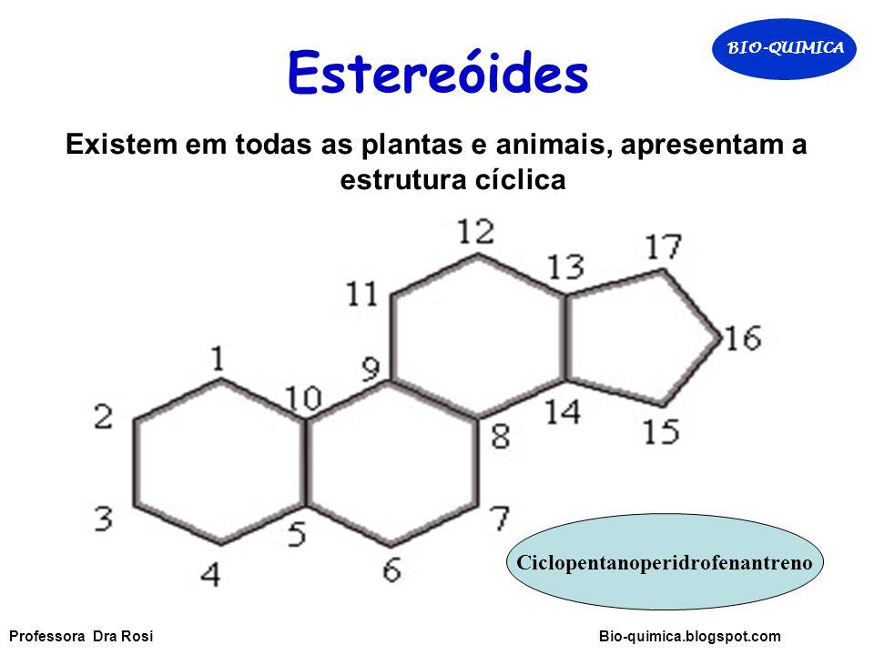 Estereóides Existem em todas as plantas e animais, apresentam a estrutura cíclica Ciclopentanoperidrofenantreno BIO-QUIMICA Professora Dra Rosi Bio-quimica.blogspot.com