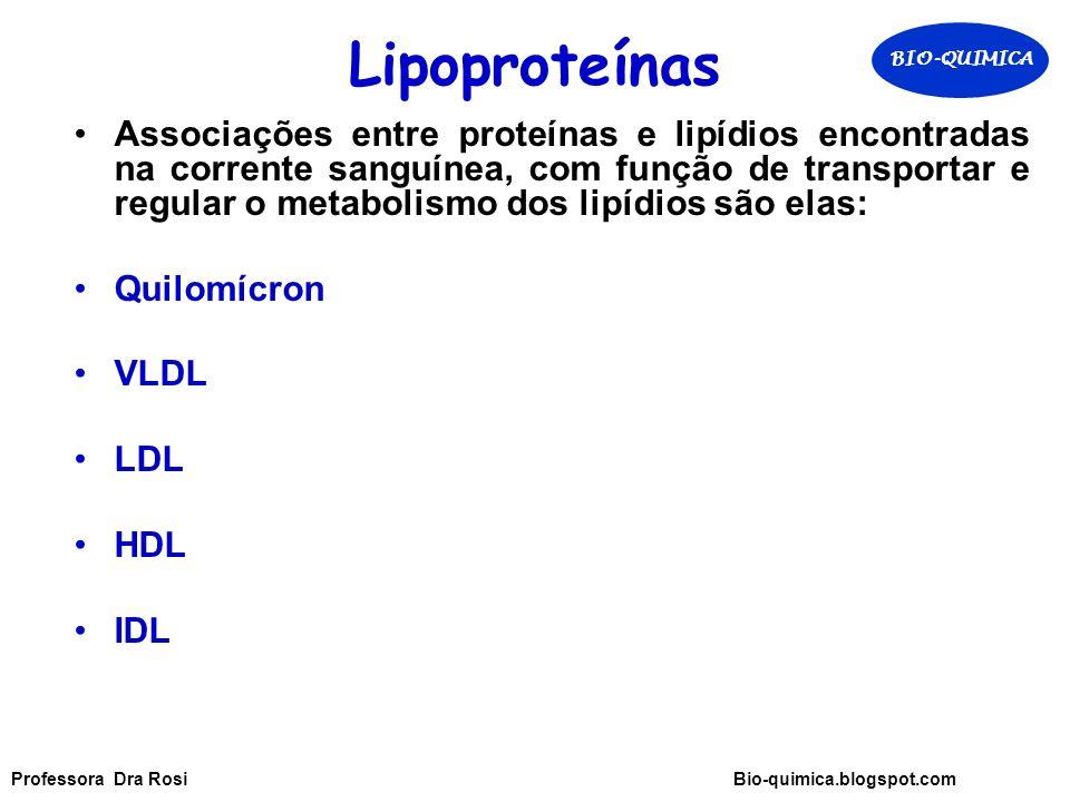 Lipoproteínas Associações entre proteínas e lipídios encontradas na corrente sanguínea, com função de transportar e regular o metabolismo dos lipídios são elas: Quilomícron VLDL LDL HDL IDL BIO-QUIMICA Professora Dra Rosi Bio-quimica.blogspot.com