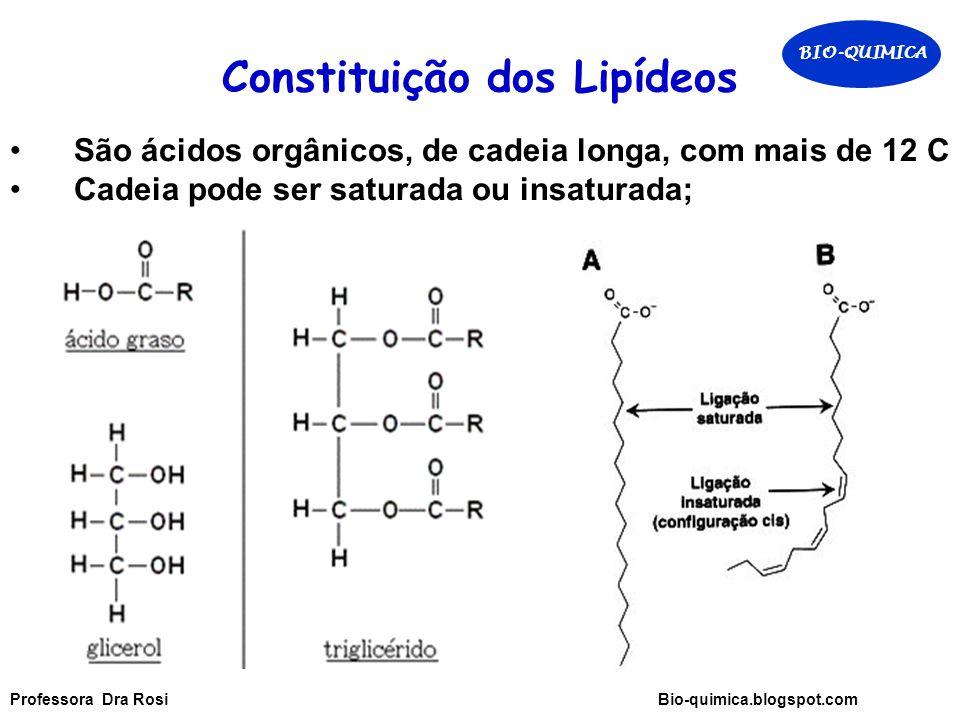 Constituição dos Lipídeos São ácidos orgânicos, de cadeia longa, com mais de 12 C Cadeia pode ser saturada ou insaturada; BIO-QUIMICA Professora Dra Rosi Bio-quimica.blogspot.com