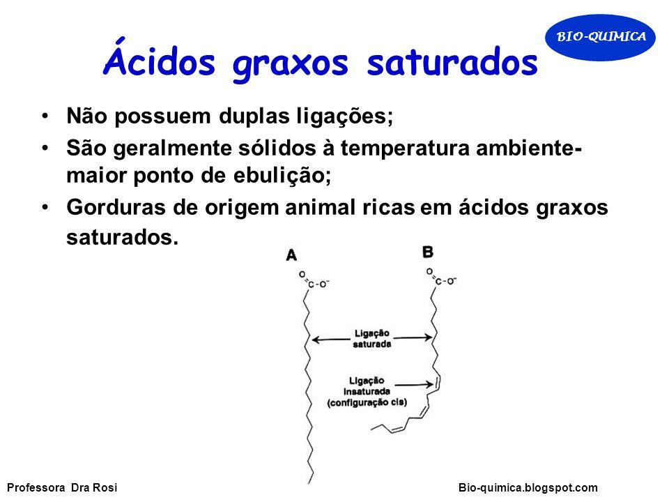 Ácidos graxos saturados Não possuem duplas ligações; São geralmente sólidos à temperatura ambiente- maior ponto de ebulição; Gorduras de origem animal ricas em ácidos graxos saturados.