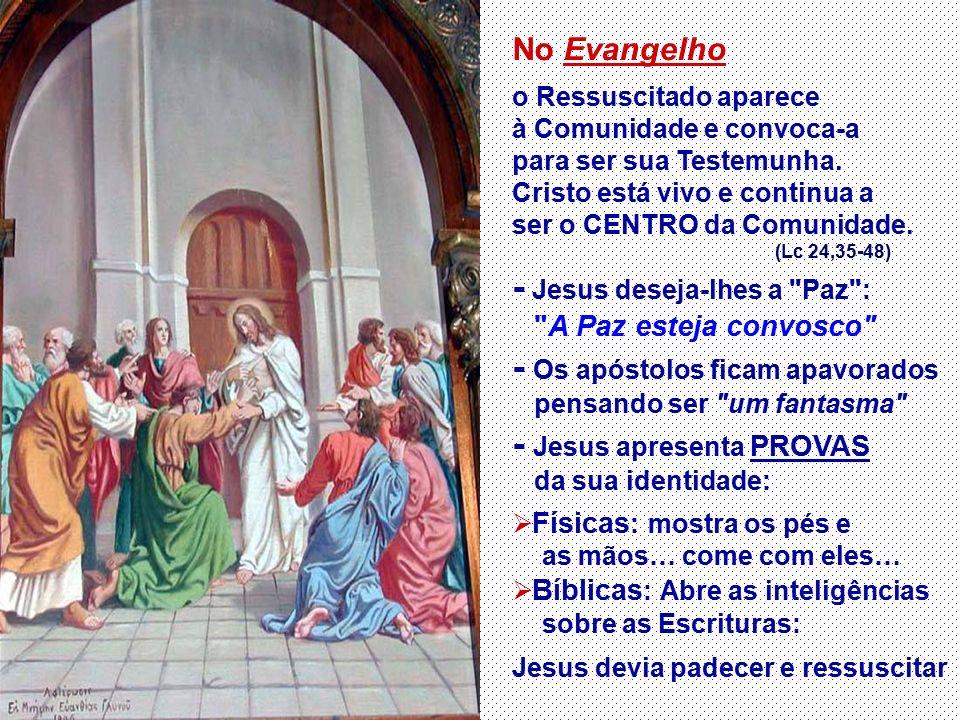 No Evangelho o Ressuscitado aparece à Comunidade e convoca-a para ser sua Testemunha.