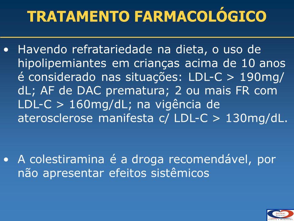 TRATAMENTO FARMACOLÓGICO Havendo refratariedade na dieta, o uso de hipolipemiantes em crianças acima de 10 anos é considerado nas situações: LDL-C > 190mg/ dL; AF de DAC prematura; 2 ou mais FR com LDL-C > 160mg/dL; na vigência de aterosclerose manifesta c/ LDL-C > 130mg/dL.