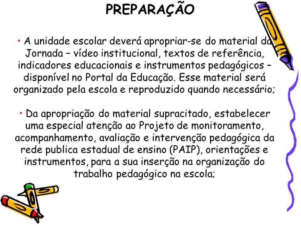 A unidade escolar deverá apropriar-se do material da Jornada – vídeo institucional, textos de referência, indicadores educacionais e instrumentos pedagógicos – disponível no Portal da Educação.