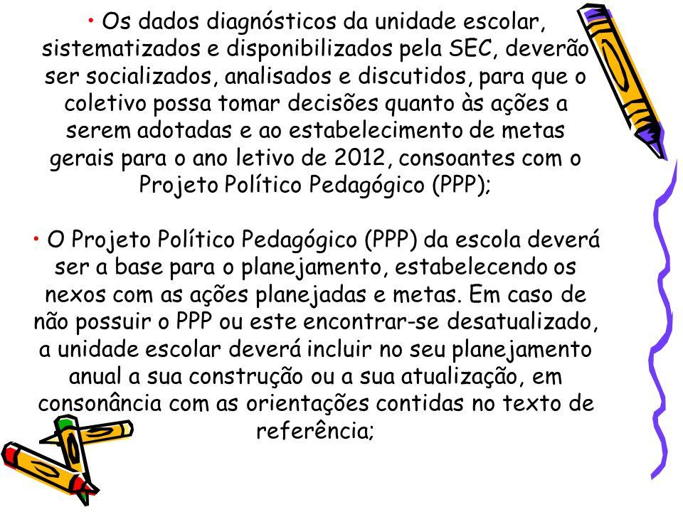 Os dados diagnósticos da unidade escolar, sistematizados e disponibilizados pela SEC, deverão ser socializados, analisados e discutidos, para que o coletivo possa tomar decisões quanto às ações a serem adotadas e ao estabelecimento de metas gerais para o ano letivo de 2012, consoantes com o Projeto Político Pedagógico (PPP); O Projeto Político Pedagógico (PPP) da escola deverá ser a base para o planejamento, estabelecendo os nexos com as ações planejadas e metas.