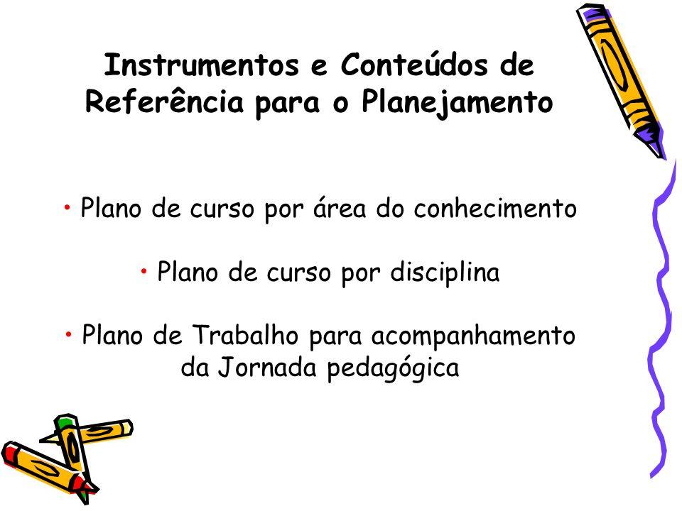 Instrumentos e Conteúdos de Referência para o Planejamento Plano de curso por área do conhecimento Plano de curso por disciplina Plano de Trabalho para acompanhamento da Jornada pedagógica