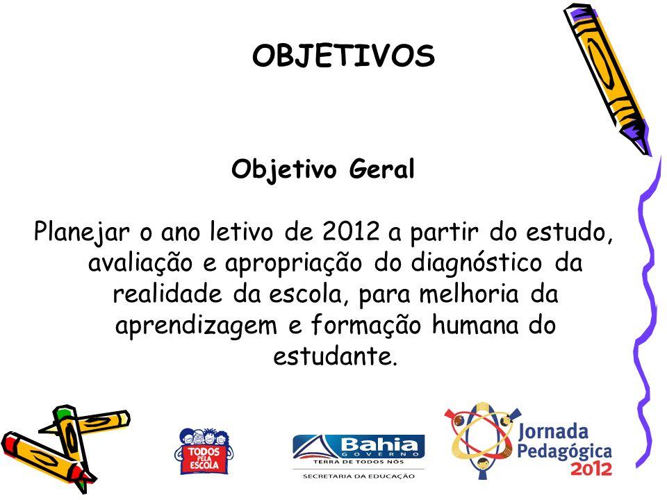 Objetivo Geral Planejar o ano letivo de 2012 a partir do estudo, avaliação e apropriação do diagnóstico da realidade da escola, para melhoria da aprendizagem e formação humana do estudante.