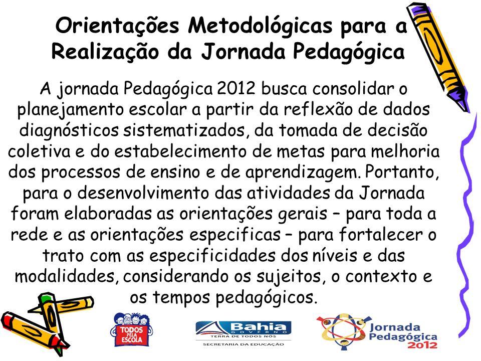 A jornada Pedagógica 2012 busca consolidar o planejamento escolar a partir da reflexão de dados diagnósticos sistematizados, da tomada de decisão coletiva e do estabelecimento de metas para melhoria dos processos de ensino e de aprendizagem.