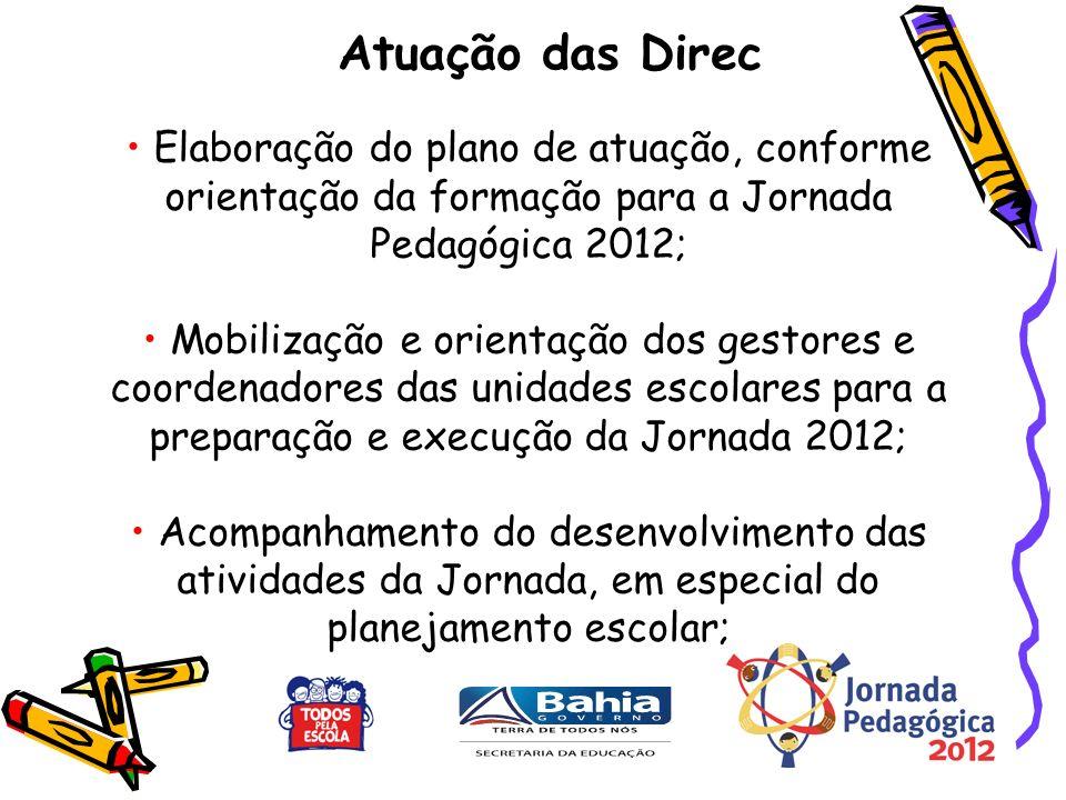 Elaboração do plano de atuação, conforme orientação da formação para a Jornada Pedagógica 2012; Mobilização e orientação dos gestores e coordenadores das unidades escolares para a preparação e execução da Jornada 2012; Acompanhamento do desenvolvimento das atividades da Jornada, em especial do planejamento escolar; Atuação das Direc