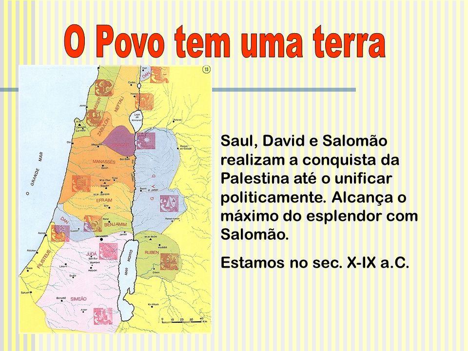 Saul, David e Salomão realizam a conquista da Palestina até o unificar politicamente.