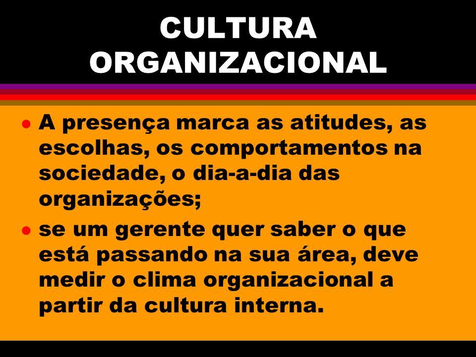 CULTURA ORGANIZACIONAL l A presença marca as atitudes, as escolhas, os comportamentos na sociedade, o dia-a-dia das organizações; l se um gerente quer saber o que está passando na sua área, deve medir o clima organizacional a partir da cultura interna.