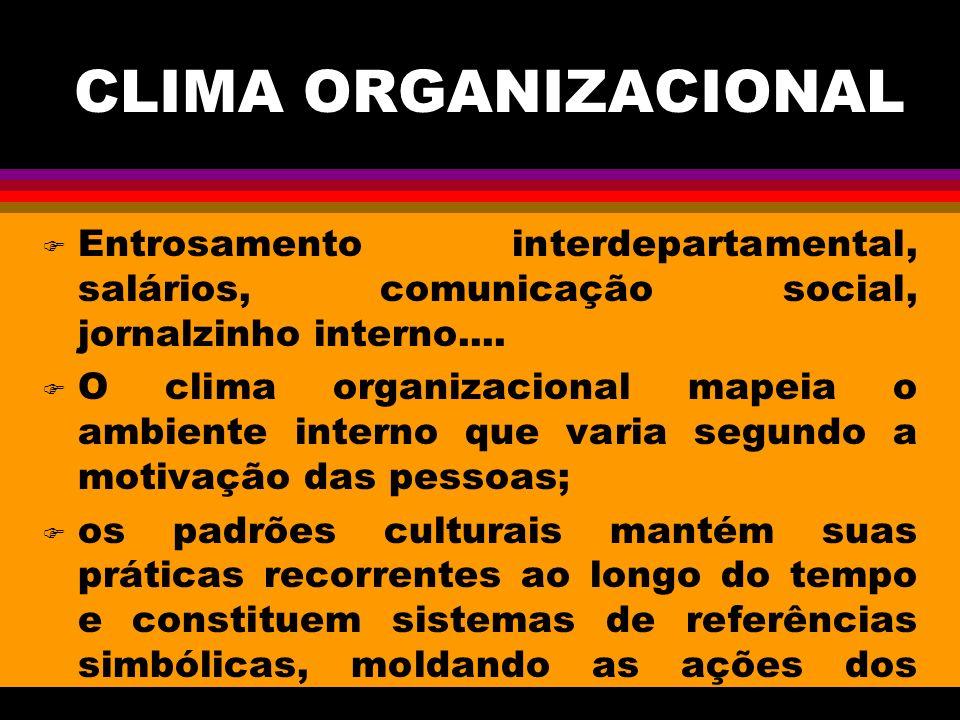 CLIMA ORGANIZACIONAL F Entrosamento interdepartamental, salários, comunicação social, jornalzinho interno....