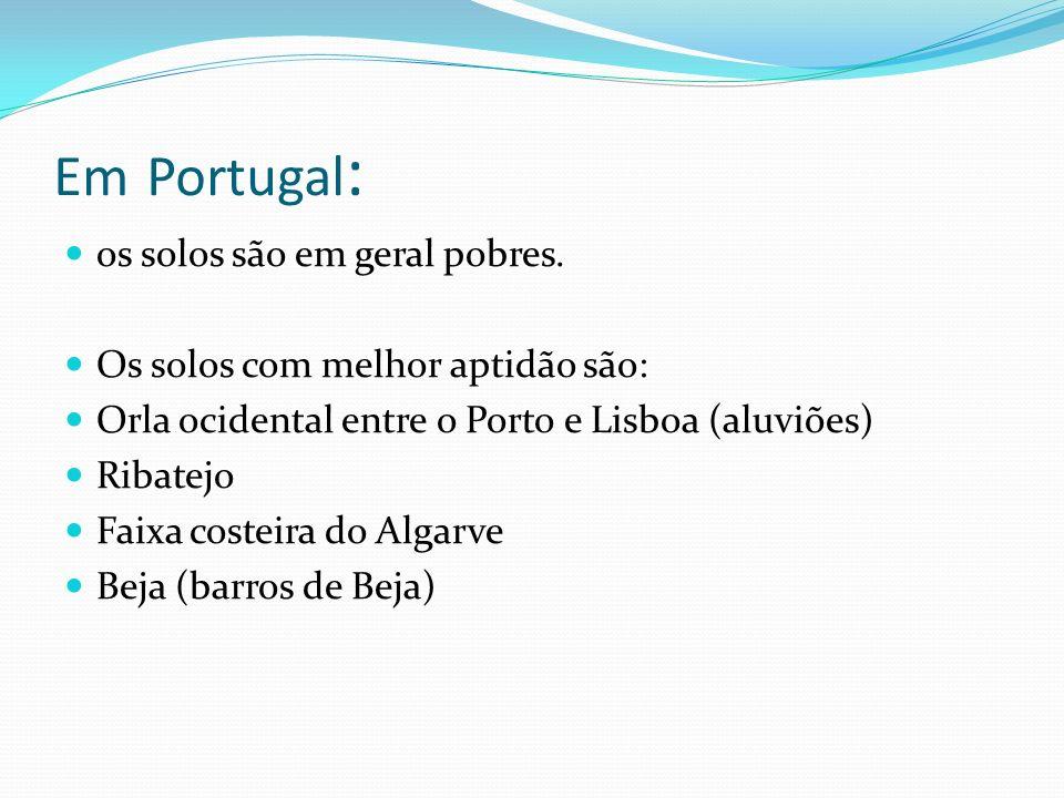 Em Portugal : os solos são em geral pobres.