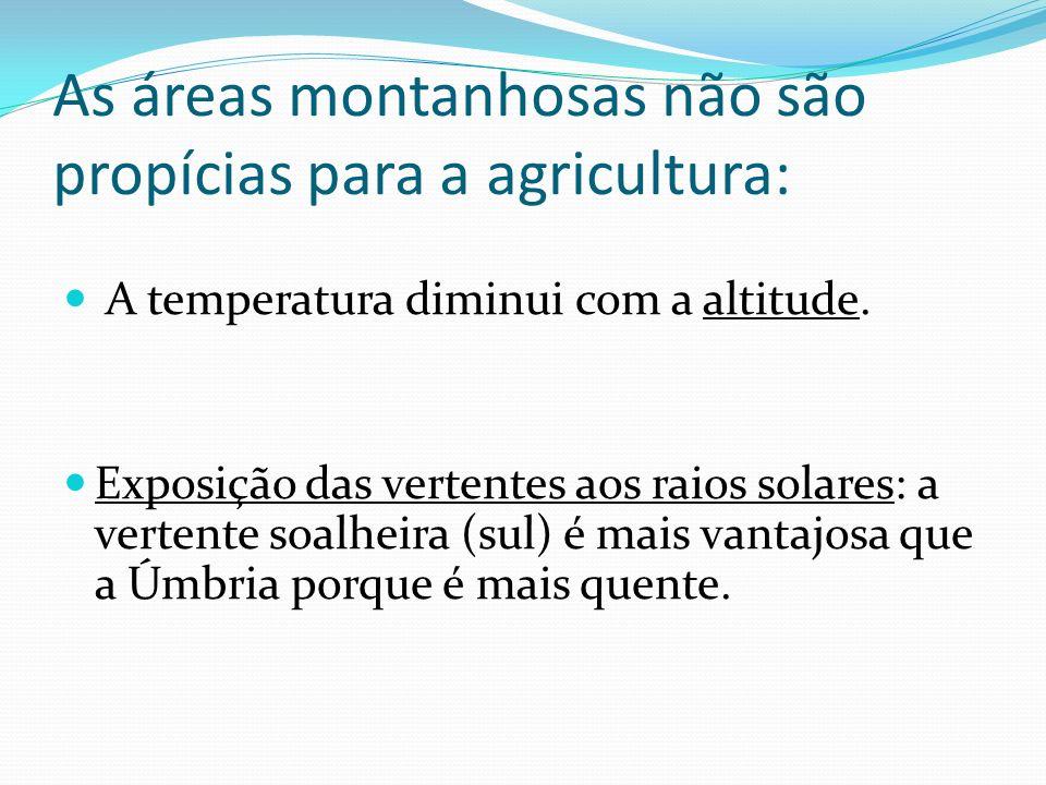 As áreas montanhosas não são propícias para a agricultura: A temperatura diminui com a altitude.