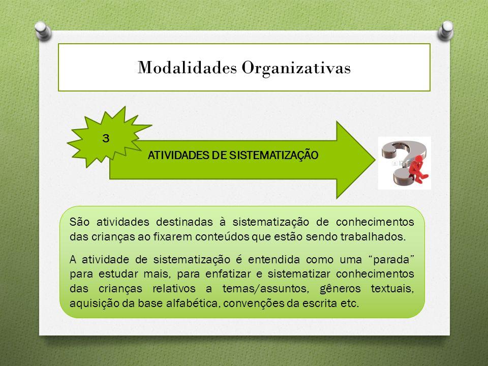 Modalidades Organizativas ATIVIDADES DE SISTEMATIZAÇÃO 3 São atividades destinadas à sistematização de conhecimentos das crianças ao fixarem conteúdos que estão sendo trabalhados.