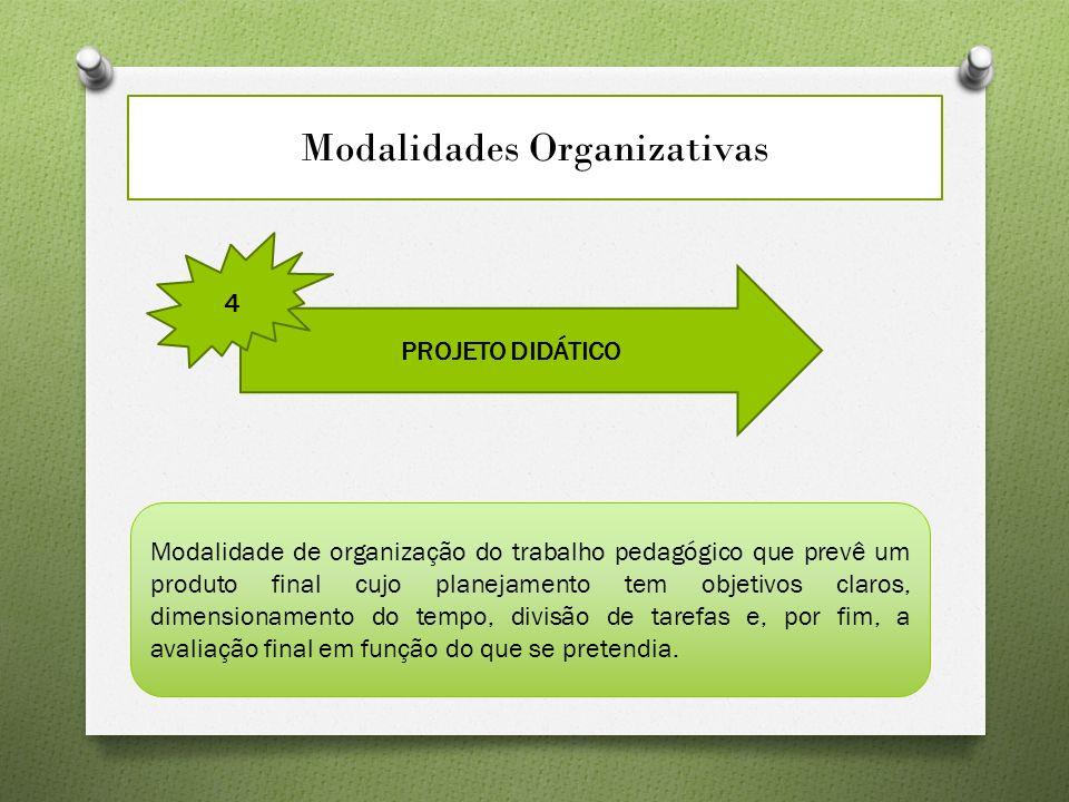 Modalidades Organizativas PROJETO DIDÁTICO 4 Modalidade de organização do trabalho pedagógico que prevê um produto final cujo planejamento tem objetivos claros, dimensionamento do tempo, divisão de tarefas e, por fim, a avaliação final em função do que se pretendia.