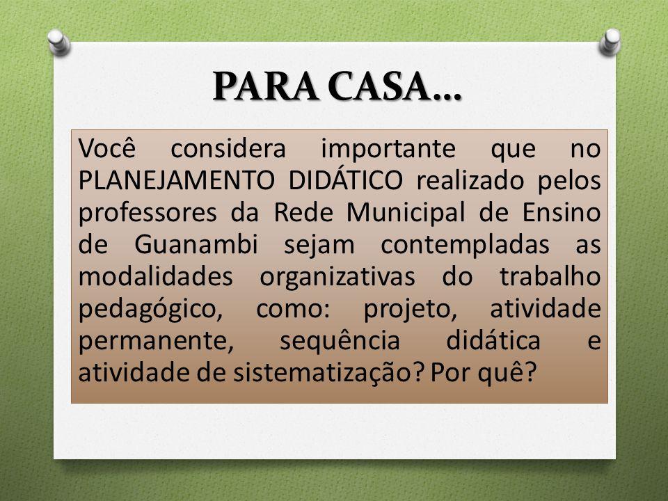 PARA CASA… Você considera importante que no PLANEJAMENTO DIDÁTICO realizado pelos professores da Rede Municipal de Ensino de Guanambi sejam contempladas as modalidades organizativas do trabalho pedagógico, como: projeto, atividade permanente, sequência didática e atividade de sistematização.