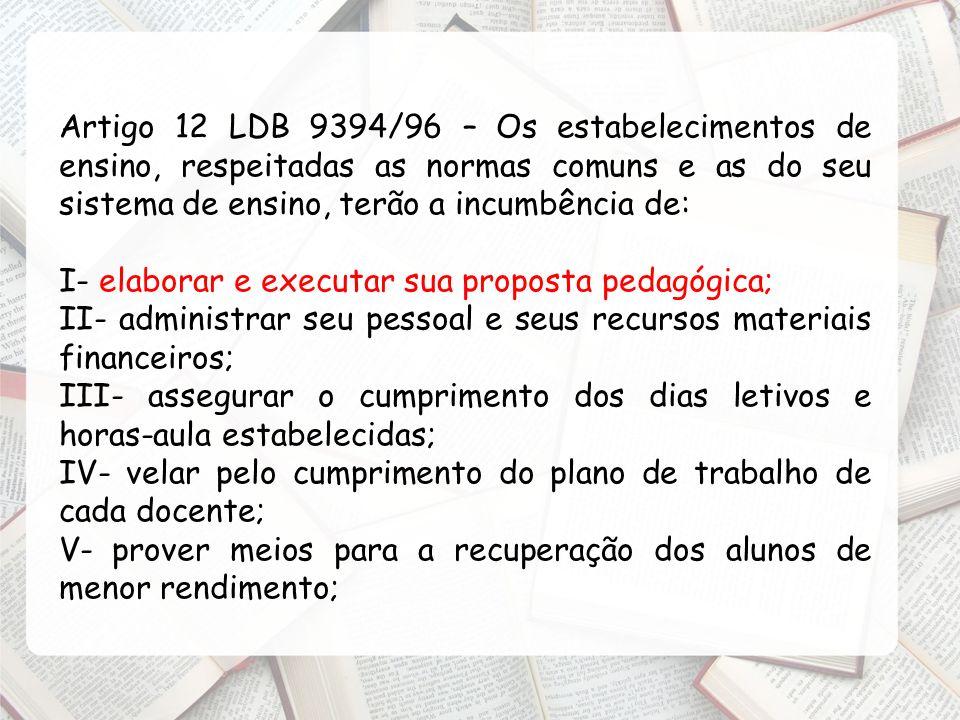 Artigo 12 LDB 9394/96 – Os estabelecimentos de ensino, respeitadas as normas comuns e as do seu sistema de ensino, terão a incumbência de: I- elaborar