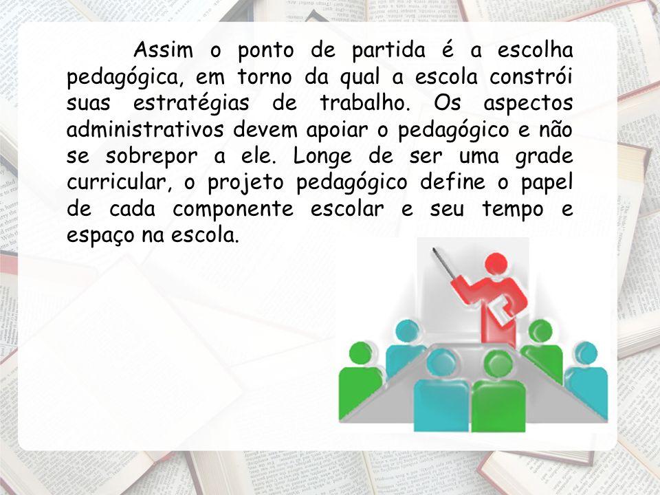 Assim o ponto de partida é a escolha pedagógica, em torno da qual a escola constrói suas estratégias de trabalho. Os aspectos administrativos devem ap