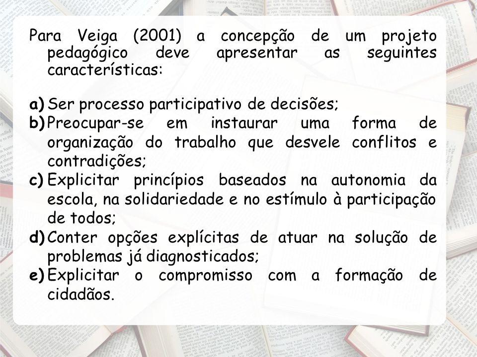 Para Veiga (2001) a concepção de um projeto pedagógico deve apresentar as seguintes características: a)Ser processo participativo de decisões; b)Preoc