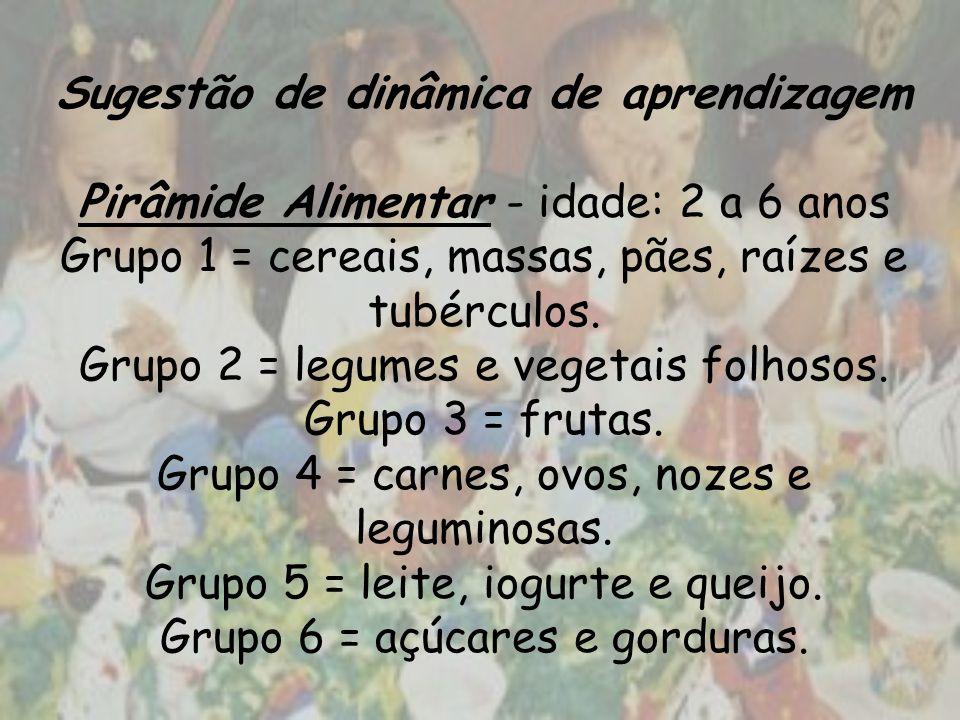 Sugestão de dinâmica de aprendizagem Pirâmide Alimentar - idade: 2 a 6 anos Grupo 1 = cereais, massas, pães, raízes e tubérculos.