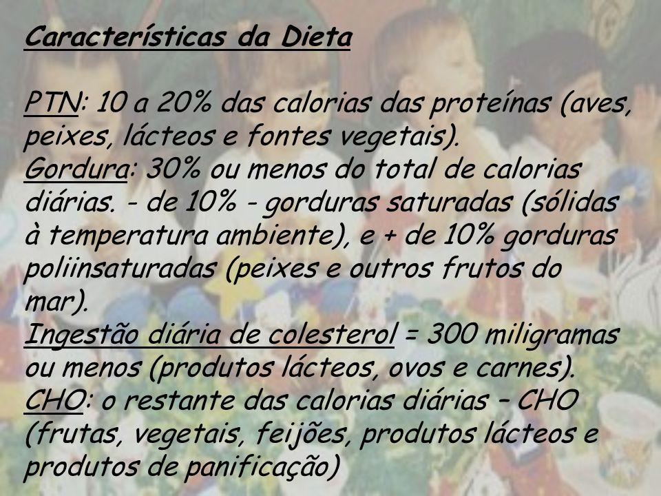 Características da Dieta PTN: 10 a 20% das calorias das proteínas (aves, peixes, lácteos e fontes vegetais).