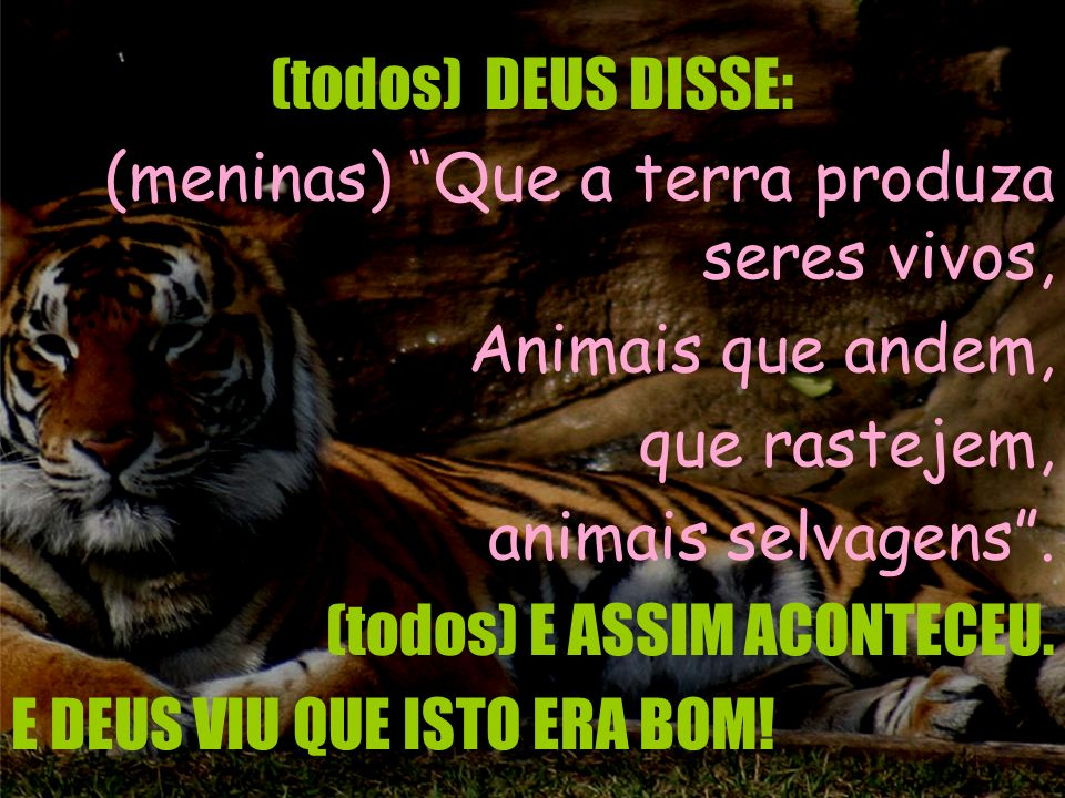 (todos) DEUS DISSE: (meninas) Que a terra produza seres vivos, Animais que andem, que rastejem, animais selvagens .