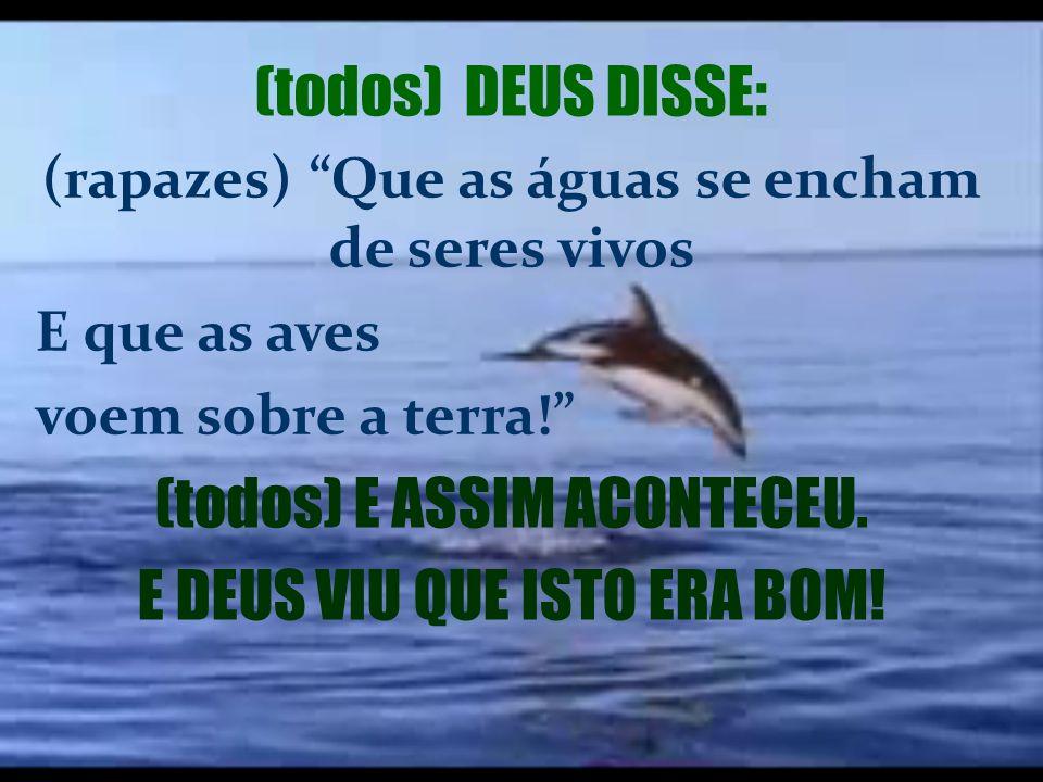 (todos) DEUS DISSE: (rapazes) Que as águas se encham de seres vivos E que as aves voem sobre a terra! (todos) E ASSIM ACONTECEU.