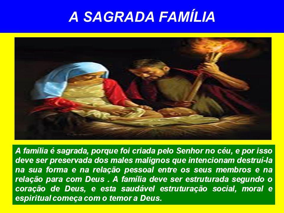 A SAGRADA FAMÍLIA A família é sagrada, porque foi criada pelo Senhor no céu, e por isso deve ser preservada dos males malignos que intencionam destruí