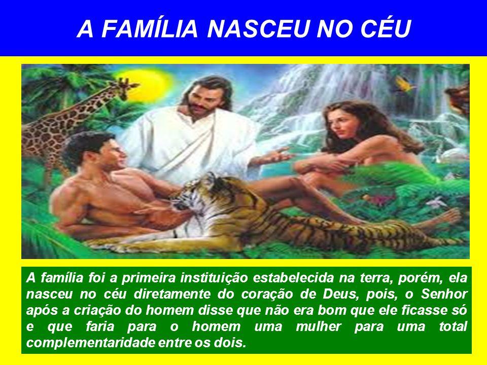 A FAMÍLIA NASCEU NO CÉU A família foi a primeira instituição estabelecida na terra, porém, ela nasceu no céu diretamente do coração de Deus, pois, o S