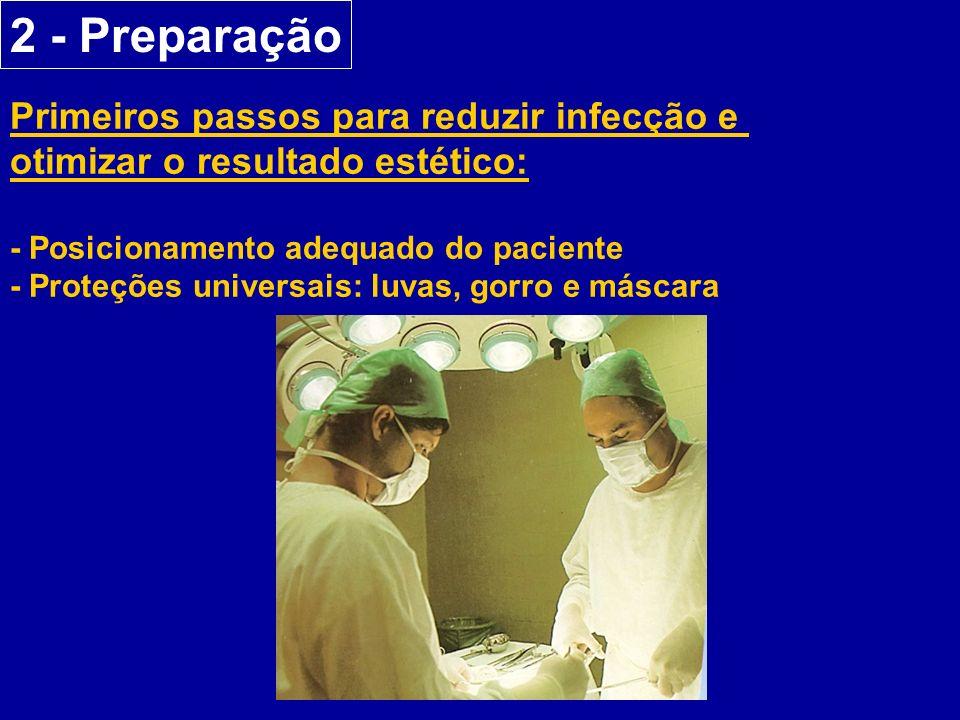 2 - Preparação Primeiros passos para reduzir infecção e otimizar o resultado estético: - Posicionamento adequado do paciente - Proteções universais: luvas, gorro e máscara