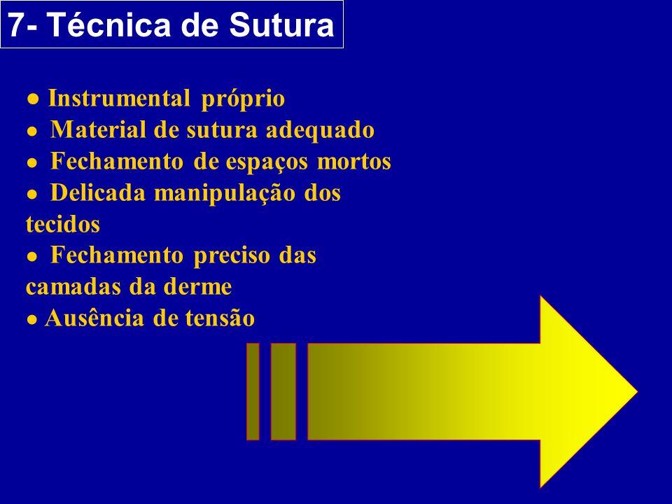 7- Técnica de Sutura ● Instrumental próprio ● Material de sutura adequado ● Fechamento de espaços mortos ● Delicada manipulação dos tecidos ● Fechamen