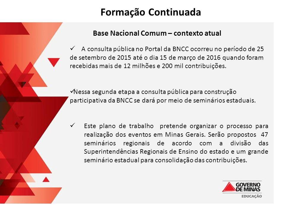 Base Nacional Comum – contexto atual A consulta pública no Portal da BNCC ocorreu no período de 25 de setembro de 2015 até o dia 15 de março de 2016 quando foram recebidas mais de 12 milhões e 200 mil contribuições.