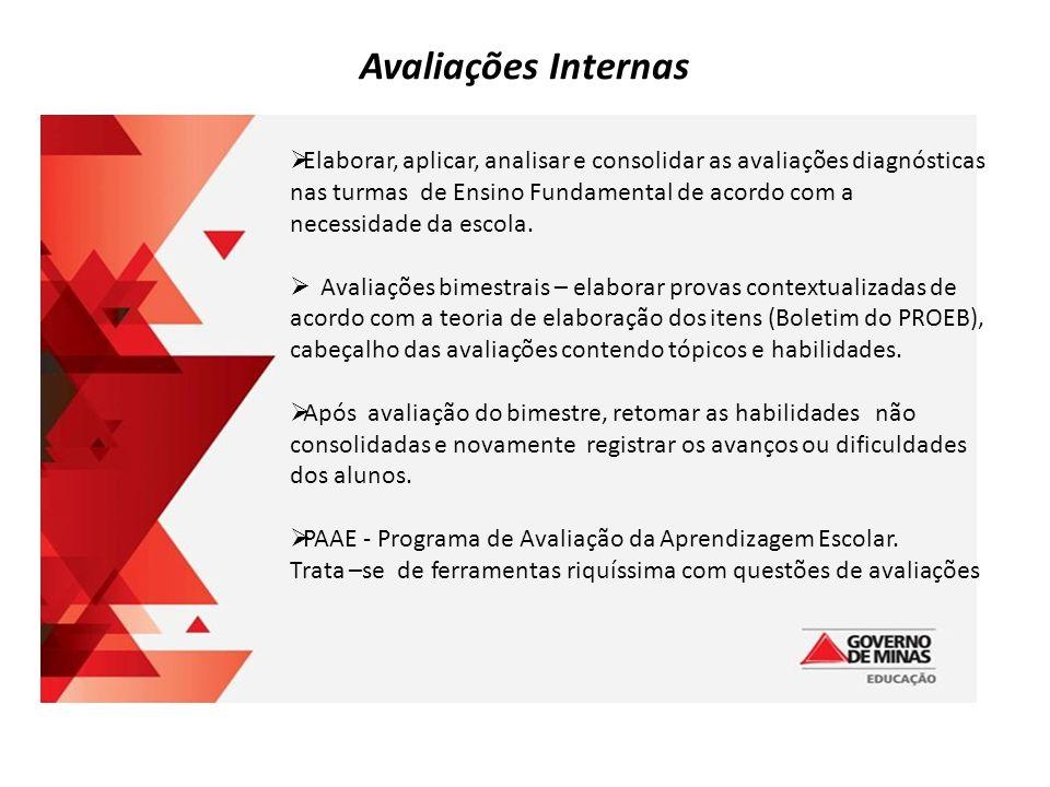 Avaliações Internas  Elaborar, aplicar, analisar e consolidar as avaliações diagnósticas nas turmas de Ensino Fundamental de acordo com a necessidade da escola.