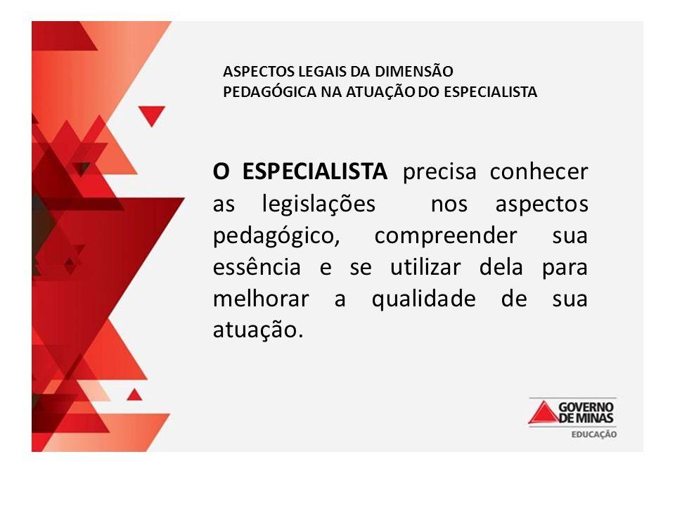 ASPECTOS LEGAIS DA DIMENSÃO PEDAGÓGICA NA ATUAÇÃO DO ESPECIALISTA O ESPECIALISTA precisa conhecer as legislações nos aspectos pedagógico, compreender sua essência e se utilizar dela para melhorar a qualidade de sua atuação.