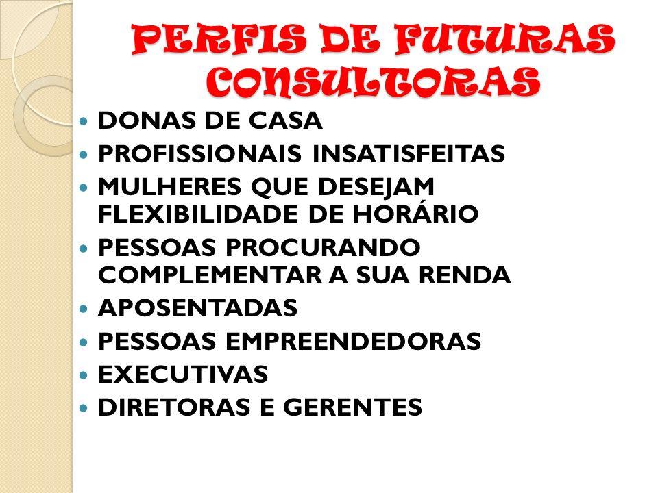 PERFIS DE FUTURAS CONSULTORAS DONAS DE CASA PROFISSIONAIS INSATISFEITAS MULHERES QUE DESEJAM FLEXIBILIDADE DE HORÁRIO PESSOAS PROCURANDO COMPLEMENTAR A SUA RENDA APOSENTADAS PESSOAS EMPREENDEDORAS EXECUTIVAS DIRETORAS E GERENTES