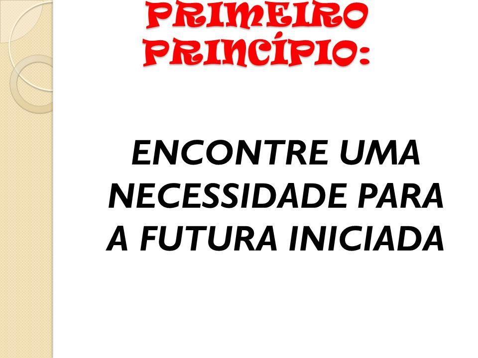 PRIMEIRO PRINCÍPIO: ENCONTRE UMA NECESSIDADE PARA A FUTURA INICIADA