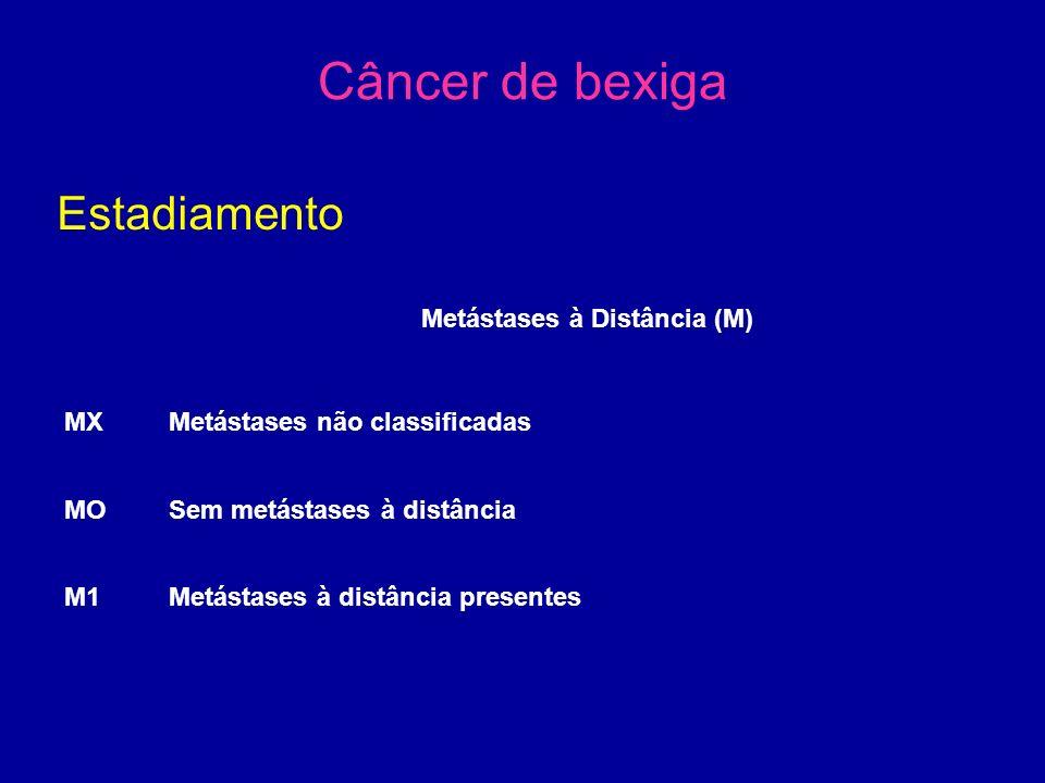 Câncer de bexiga Estadiamento Metástases à Distância (M) MXMetástases não classificadas MO Sem metástases à distância M1Metástases à distância presentes