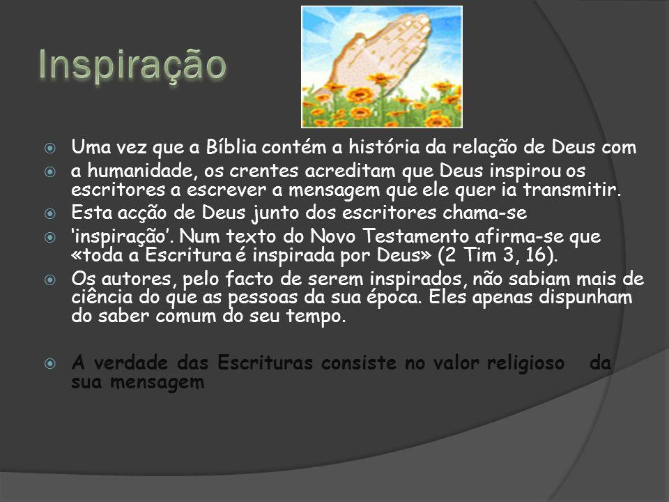  Uma vez que a Bíblia contém a história da relação de Deus com  a humanidade, os crentes acreditam que Deus inspirou os escritores a escrever a mensagem que ele quer ia transmitir.