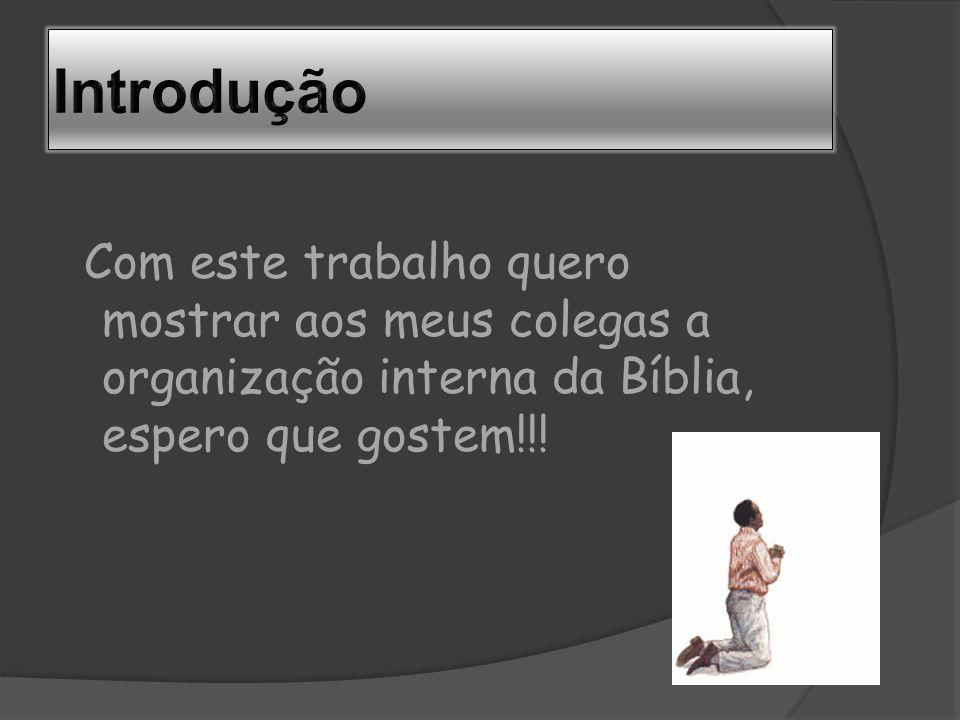 Com este trabalho quero mostrar aos meus colegas a organização interna da Bíblia, espero que gostem!!!