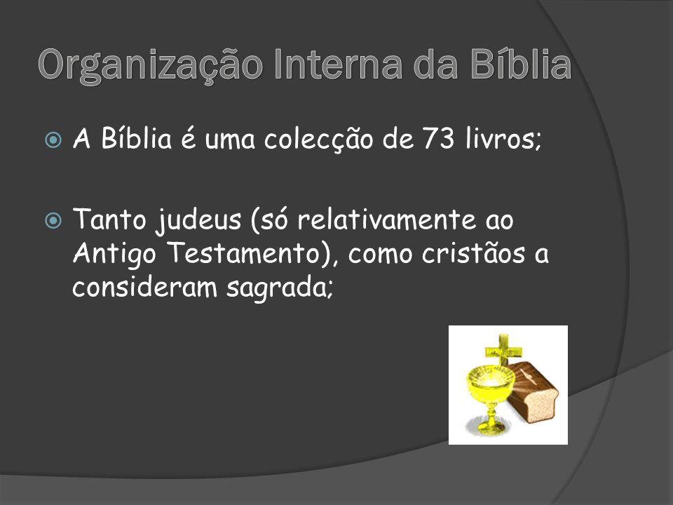  A Bíblia é uma colecção de 73 livros;  Tanto judeus (só relativamente ao Antigo Testamento), como cristãos a consideram sagrada;