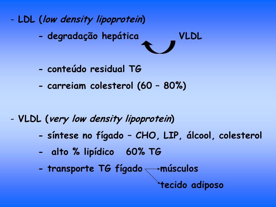 - LDL (low density lipoprotein) - degradação hepática VLDL - conteúdo residual TG - carreiam colesterol (60 – 80%) - VLDL (very low density lipoprotein) - síntese no fígado – CHO, LIP, álcool, colesterol - alto % lipídico 60% TG - transporte TG fígado músculos tecido adiposo