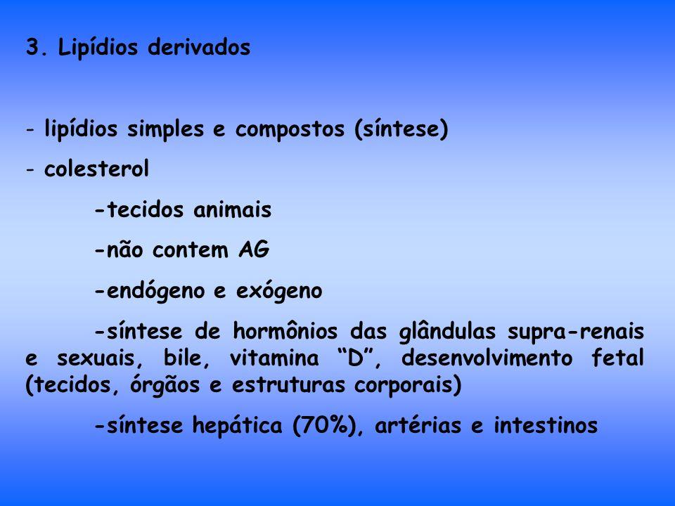 3. Lipídios derivados - lipídios simples e compostos (síntese) - colesterol -tecidos animais -não contem AG -endógeno e exógeno -síntese de hormônios