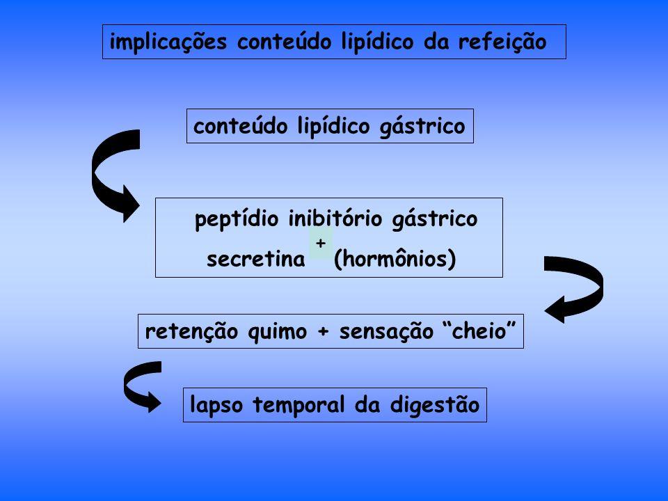 peptídio inibitório gástrico secretina (hormônios) retenção quimo + sensação cheio conteúdo lipídico gástrico implicações conteúdo lipídico da refeição lapso temporal da digestão +