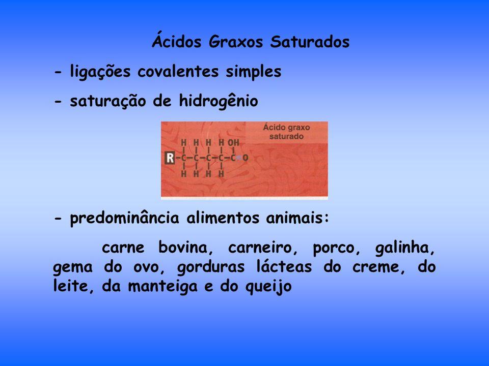 Ácidos Graxos Saturados - ligações covalentes simples - saturação de hidrogênio - predominância alimentos animais: carne bovina, carneiro, porco, galinha, gema do ovo, gorduras lácteas do creme, do leite, da manteiga e do queijo