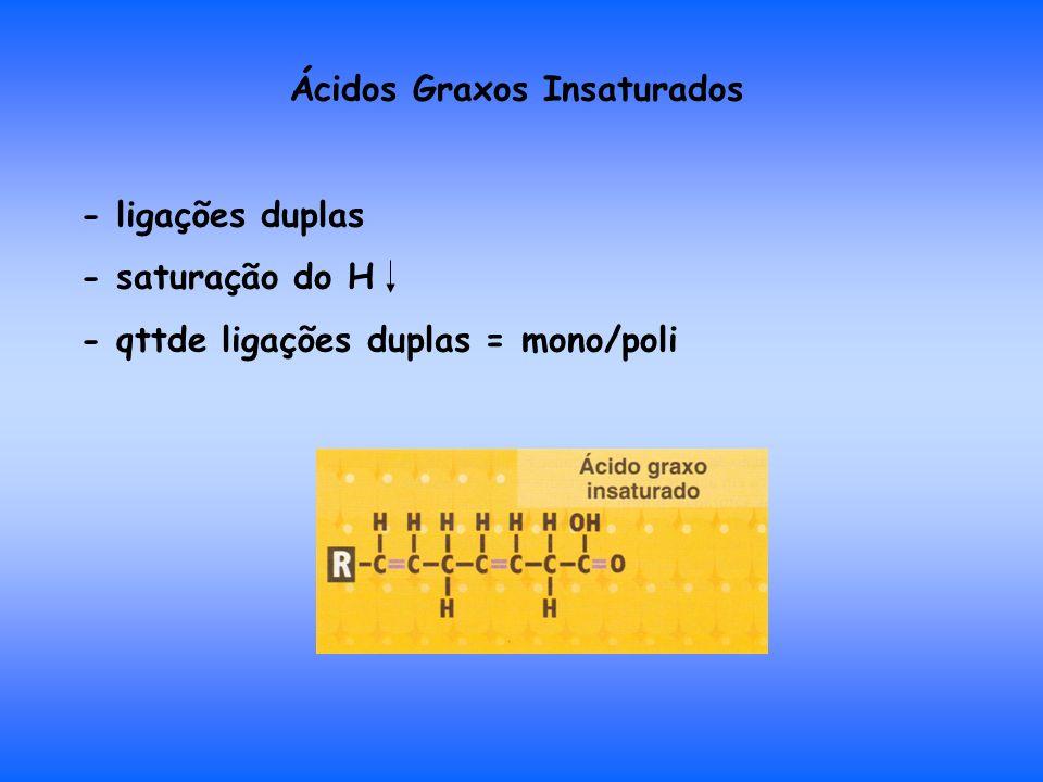 Ácidos Graxos Insaturados - ligações duplas - saturação do H - qttde ligações duplas = mono/poli