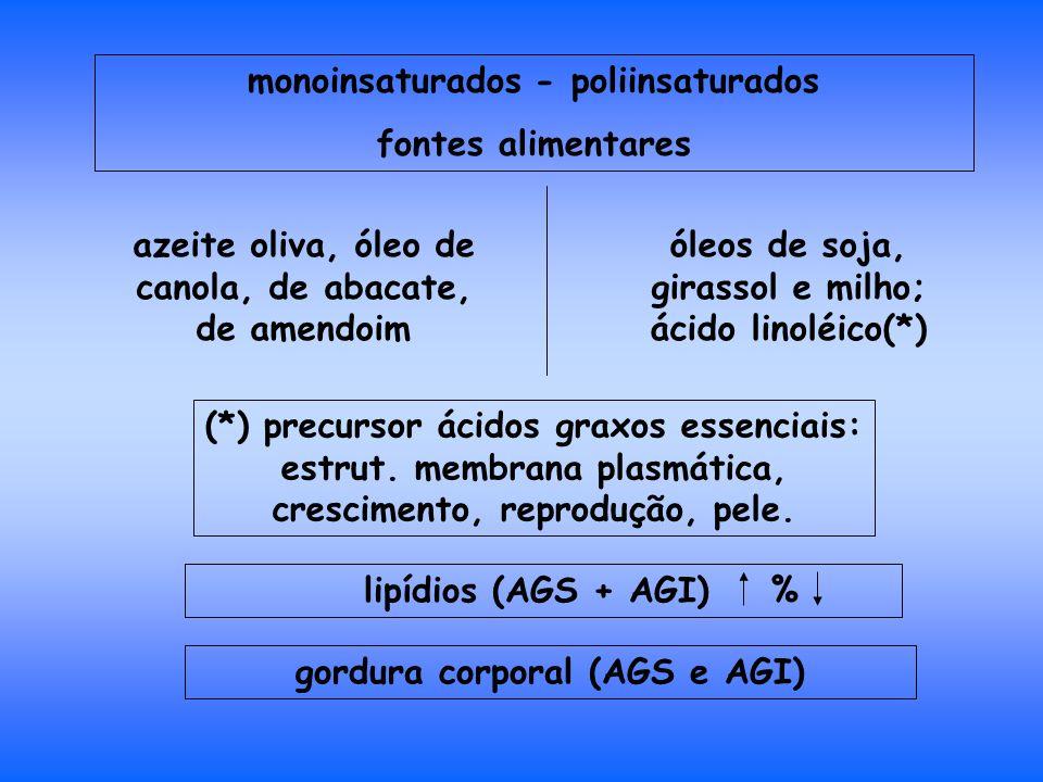 monoinsaturados - poliinsaturados fontes alimentares azeite oliva, óleo de canola, de abacate, de amendoim óleos de soja, girassol e milho; ácido linoléico(*) (*) precursor ácidos graxos essenciais: estrut.