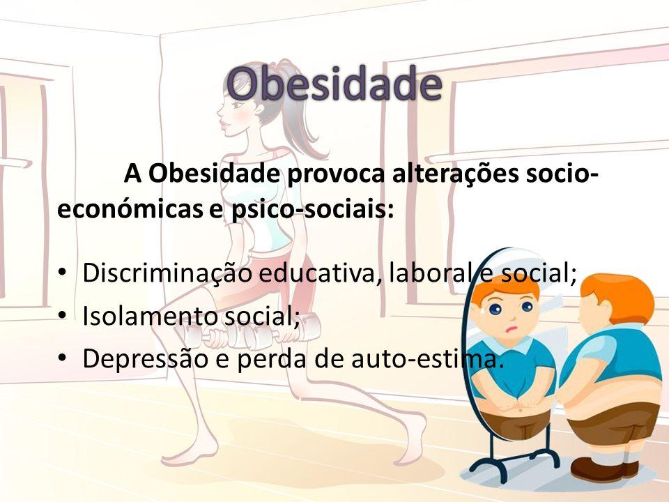 A Obesidade provoca alterações socio- económicas e psico-sociais: Discriminação educativa, laboral e social; Isolamento social; Depressão e perda de auto-estima.