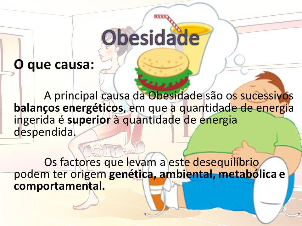 O que causa: A principal causa da Obesidade são os sucessivos balanços energéticos, em que a quantidade de energia ingerida é superior à quantidade de energia despendida.